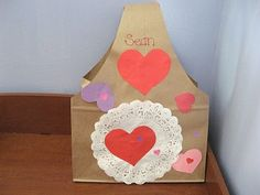 Valentine holder using paper sacks