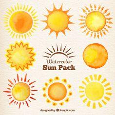 水彩太陽のコレクション 無料ベクター