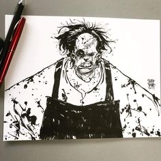 Texas Chainsaw Massacre's Leather Face. Drew a quick con sketch years ago similar to and thought it would be fun to revisit it. It's interesting to re draw old pieces. Sometimes it comes out much better, sometimes just different. Horror Comics, Horror Art, Horror Film, Texas Chainsaw Massacre, Young Art, Skottie Young, Cecile, Transformers Art, Book Cover Art