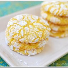Lemon Burst Cake Mix Cookies:  Ingredients •1 box Lemon Cake Mix*  •1- 8 oz container Cool Whip  •1 egg  •1/3 cup powdered sugar (for rolling)  Instructions 1. Preheat oven to 350°  2. In medium bowl, beat cool whip, egg and cake mix until well blended. Dough will be thick and sticky.  3. Drop by teaspoonfuls into a bowl of powdered sugar and roll to coat.  4. Place on parchment lined cookie sheet and bake for 10- 12 minutes