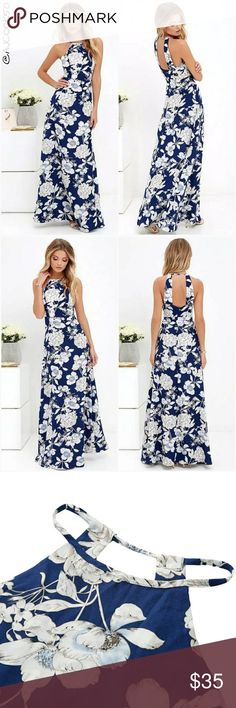 • Restocking • Halter Top Floral Print Maxi Dress • Reordering more sizes comment below on what size you want.  Beautiful maxi dress feature white on blue floral print, halter top front and 2 thick back straps. Material: Polyester  Sizes run small please check size chart. AJ's Threads  Dresses Maxi
