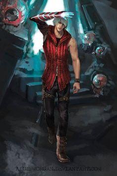 Nero by AloisMorgan on DeviantArt Devil May Cry 4, Nero Dmc, Character Art, Character Design, Bayonetta, Fantasy Male, Manga Boy, Crying, Cool Photos
