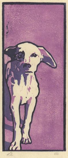 Lonely Dog is a part of a series of woodcut prints that depict Indian stray dogs. This print is an original three-color handcarved color