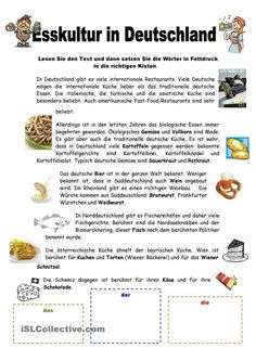 14059 Kostenlose Arbeitsblätter von GFL-Lehrern für GFL-Lehrer - Немецкий - Esskultur in Deutschland - Study German, German Resources, Deutsch Language, German Language Learning, German Words, Language Activities, Reading Resources, Foreign Languages, Learn English