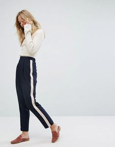 Oasis Side Stripe Tailored Pants - Navy