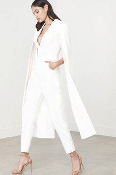 add5b40b416 Lavish alice off white tailored cape jumpsuit