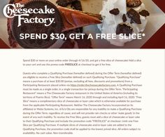 Pinned March 20th: #FREE slice with $30 spent at The #CheesecakeFactory restaurants via promo code FREESLICE #TheCouponsApp Cheesecake Factory Restaurant, Calendar Reminder, Couponing 101, Restaurant Offers, Shopping Coupons, March 20th, Plastic Surgery, Coupon Codes, Restaurants