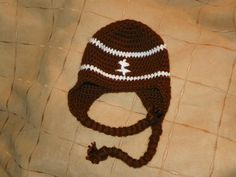 Football Winter Hat with Earflaps by TotallyTami on Etsy, $16.00