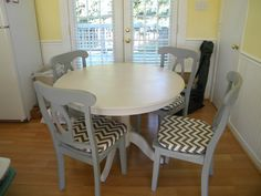 Table and chairs given new life with my DIY chalk paint and wax and re-upholstered cushions using gray and off white chevron fabric. Sold before I even started painting it!!!!