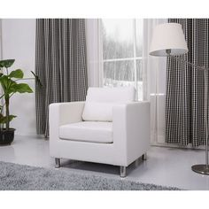 @Overstock.com - Detroit White Arm Chair - This gorgeous arm chair features a sleek contemporary design and offers comfort and style to your home. European style furniture upholstered in durable premium materials with detailed stitching.  http://www.overstock.com/Home-Garden/Detroit-White-Arm-Chair/8134755/product.html?CID=214117 $270.89