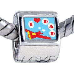 Pugster Bead I Love Dad Beads Fits Pandora Bracelet Pugster. $12.49. Bracelet sold separately. Hole size is approximately 4.8 to 5mm. Unthreaded European story bracelet design. Fit Pandora, Biagi, and Chamilia Charm Bead Bracelets. It's the photo on the love charm