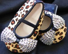 Leopard Baby Shoes with diamond bows by SummerJadeBoutique on Etsy, $11.25