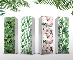 "Floral Magnet sticker | Tropical Fridge Cover | Magnet up to 23.6"" x 74.8"" (60x195cm) 