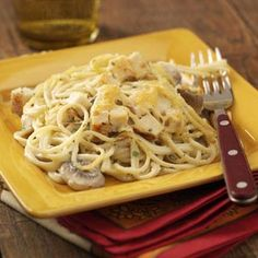 Chicken Tetrazzini.... I use a rotisserie chicken to make it easier and use linguine noodles instead of spaghetti.