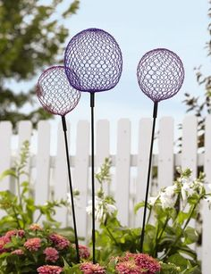Globe Allium Stakes, Set of 3. These could be made with chicken wire too.