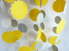 Party decoration, Yellow and Gray, Sunshine Garland via Etsy- for the fence