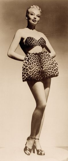 """""""God bless Lili St. Cyr…"""" from the song 'Don't Dream it, Be It' from cult film, The Rocky Horror Picture Show. Lovely legendary LILI ST. CYR. in leopard print bikini. From The Queens of Burlesque by Len Rothe. (minkshmink)"""