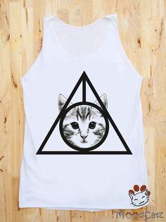 Deathly Hallows Cat Shirt I Like Cats Shirt  Size M. $16.00, via Etsy.