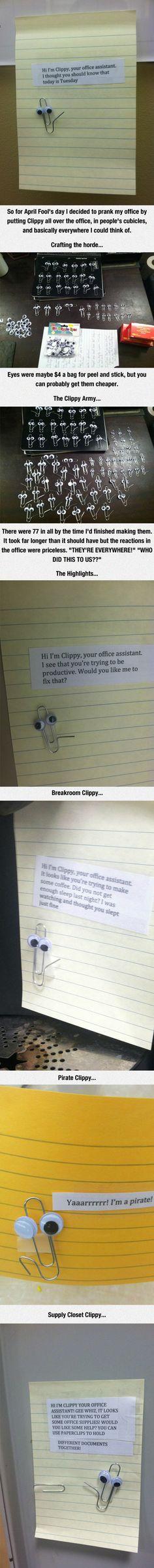Funny pranks, Funny, Hilarious, Office pranks, Laugh - A wild clippy appears - Funny Cute, The Funny, Hilarious, Funny Laugh, Funny Work, Bromas Ideas, Prank Ideas, Memes Estúpidos, Funny Memes