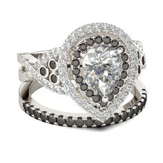 Jeulia Double Halo Twist Pear Cut Created White Sapphire With Black Diamond Sidestone Wedding Set 3.42CT TW - Jeulia Jewelry