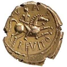 Iron Age gold coin of Anarevito and Eppillus, Kent, England, about 10 BC - AD 20    Kent, England, about 10 BC - AD 20
