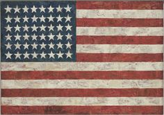 "Jasper Johns. Flag. 1954-55  (dated on reverse 1954).1954-55 (dated on reverse 1954). Encaustic, oil, and collage on fabric mounted on plywood, three panels, 42 1/4 x 60 5/8"" (107.3 x 153.8 cm). Gift of Philip Johnson in honor of Alfred H. Barr, Jr. © 2012 Jasper Johns / Licensed by VAGA, New York, NY"