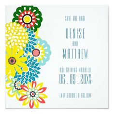 x Exotic Daisies Save the Date Card - vintage gifts retro ideas cyo Vintage Wedding Invitations, Wedding Invitation Cards, Custom Invitations, Wedding Cards, Wedding Sets, Wedding Colors, Invitation Card Design, Invite, Exotic Wedding