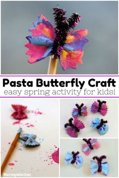 Simple butterfly craft for kids using bow tie pasta and paint! A fun kids craft that is perfect for any preschool butterfly unit or spring lesson plans! Hang them in your playroom or use them for pretend play! An easy craft for groups and multiple ages! Easy Art For Kids, Spring Crafts For Kids, Crafts For Kids To Make, Kids Crafts, Preschool Art Activities, Spring Activities, Butterfly Crafts, Simple Butterfly, Butterfly Books