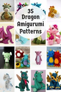 Crochet Amigurumi Patterns Collection of 35 dragon amigurumi crochet toy patterns Crochet Dragon Pattern, Crochet Patterns Amigurumi, Crochet Amigurumi, Crochet Dolls, Crochet Gifts, Cute Crochet, Articles Pour Enfants, Crochet Dinosaur, Dinosaur Dinosaur