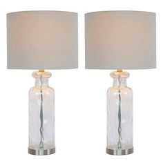 Shop Grant Textured Glass Table Lamp - Set of 2 - Overstock - 31688043 - Clear with Brushed Steel Table Lamp Base, Table Lamp Sets, Bedside Lamps Tall, Rustic Lamp Sets, Glass Texture, Mason Jar Lamp, Drum Shade, Lamp Shades, Glass Table