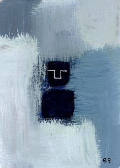 iceberg e9Art ACEO Minimalism Abstract Figurative Outsider Folk Art Brut Painting