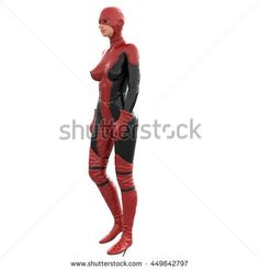 one tall woman in red black super suit. Woman stands sideways to camera. Looking to side. 3D rendering, 3D illustration - stock photo