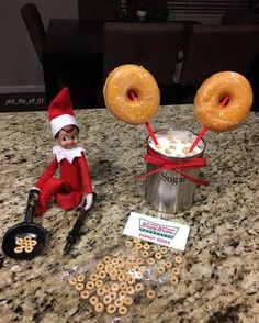 """Day 6:Just plant some """"donuts seeds"""" overnight and baaaam you'll be able to grow some fresh donuts ready for breakfast! #krispykremedoughnuts #elfontheshelf #elfontheshelfideas #elfontheshelf2017 #jacktheelfadventures"""