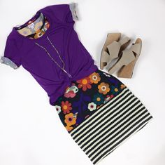 This floral and striped LuLaRoe Julia is amazing! It even has birds! A purple Classic tee over the top is such a cute way to style it.