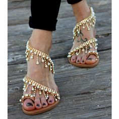 Gold Cute Sandals Rhinestone Summer Flats image 3