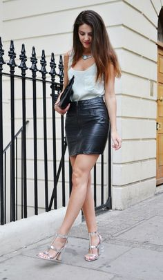 www.streetstylecity.blogspot.com  Fashion inspired by the people in the street ootd look outfit sexy high heels legs woman girl leather skirt miniskirt