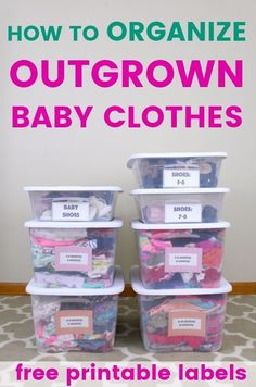 How to organize and store outgrown baby clothes- printable storage container labels for boy and girl. # baby clothing storage How to organize and store outgrown baby clothes [+ free printable labels] — The Organized Mom Life Old Baby Clothes, Storing Baby Clothes, Baby Clothes Quilt, Baby Clothes Patterns, Trendy Baby Clothes, Organizing Baby Clothes, Clothing Organization, Organization Ideas, Organize Kids Clothes