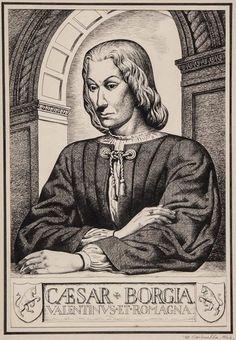 Etched portrait of Cesare Borgia (1475-1507)