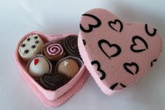 Felt Food Valentine's Day Heart Shaped Box of by PlayWithMyFood, $30.00