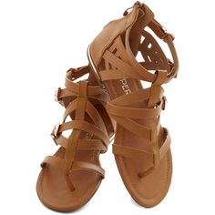 ModCloth Festival Key to Strappiness Sandal (€32) ❤ liked on Polyvore featuring shoes, sandals, flats, sapatos, women's shoe, strappy sandal, tan, t-strap flats, tan flats и tan gladiator sandals