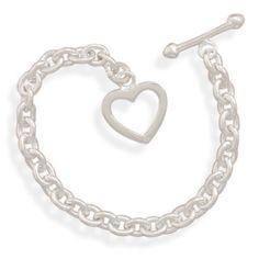 "7"""" Oval Link Heart Toggle Bracelet"