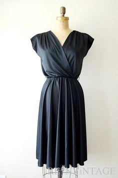 vintage 1970s dress - 70s black slouchy dress by shopREiNViNTAGE