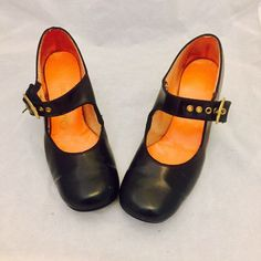 60s Black Mary Janes Heels Mod Round Toe Chunky Shoes size 8