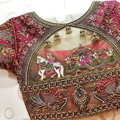 Heavy bridal blouse with aari/hand work can be customised on any color Wedding Saree Blouse Designs, Pattu Saree Blouse Designs, Fancy Blouse Designs, Wedding Sarees, Dress Designs, Bridal Lehenga, Lehenga Choli, Traditional Blouse Designs, Maggam Work Designs