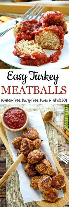 Clean Eating Diet Flavorful turkey meatballs that are easy, healthy, and filling! This recipe is compliant and makes a great snack or meal. - Flavorful turkey meatballs that are easy, healthy, and really filling! Easy Turkey Meatballs, Healthy Turkey Meatballs, Whole 30 Meatballs, Turkey Meals, Turkey Dishes, Paleo Recipes, Cooking Recipes, Delicious Recipes, Soup Recipes