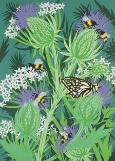 'Bees On Thistles' By Papercut Artist Fiona Scott Wilson. Blank Art Cards By Green Pebble. www,greenpebble.co.uk: