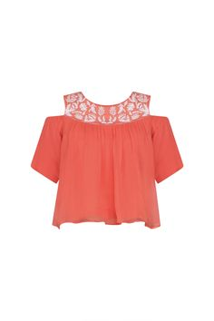 Samatvam Coral floral embroidered cold shoulder top available only at Pernia's Pop Up Shop. Mehndi Party, Pernia Pop Up Shop, Party Outfits, Jackets Online, Designer Collection, Anarkali, Kurti, Cold Shoulder, Coral