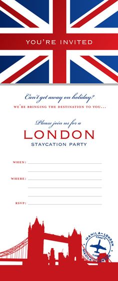 """downloadable invite for staycation party - like the """"you're invited"""" on the flag"""