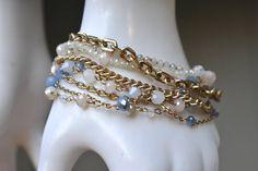 Swarovski Crystal and Multi Chain Toggle Bracelet Vintage