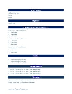 Professional achievements are front and center on this resume template, which places section titles on distinctive blue bars. Free to download and print